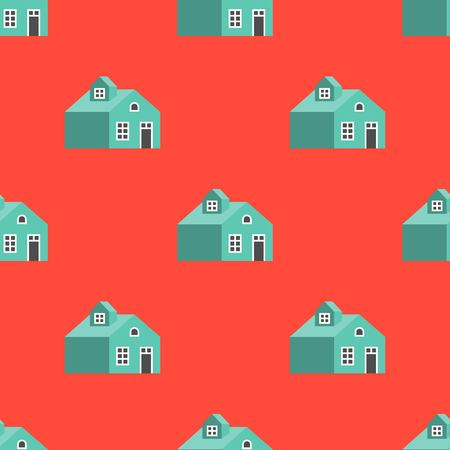 house on red background seamless pattern with clipping mask Çizim