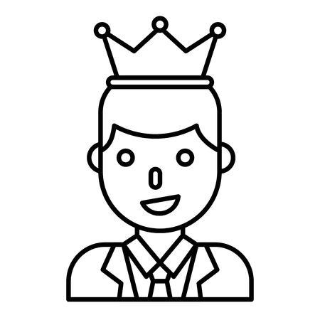 Businessman wearing a crown vector illustration, line design icon