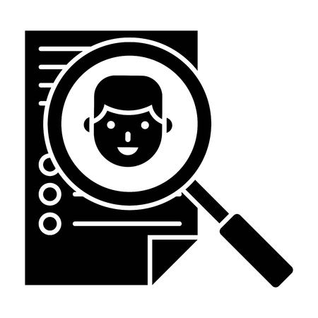 Resume and magnifying glass vector illustration, solid design icon