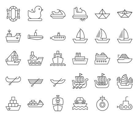 Watercraft vector set, line design icon editable outline