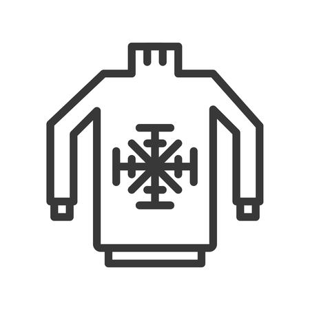 Sweater vector illustration, Chirstmas related editable outline icon