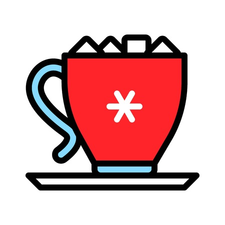 Marshmallow drink vector, Chirstmas menu filled design editable outline icon