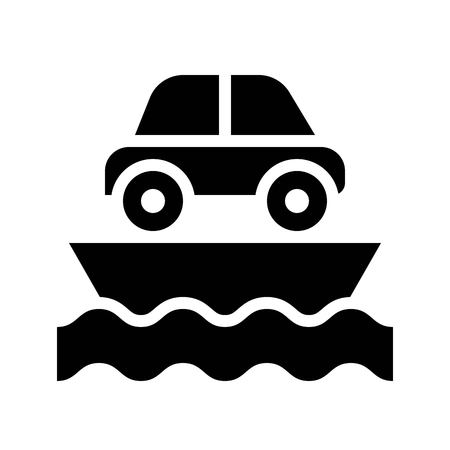 Ferry vector illustration, Watercraft solid design icon