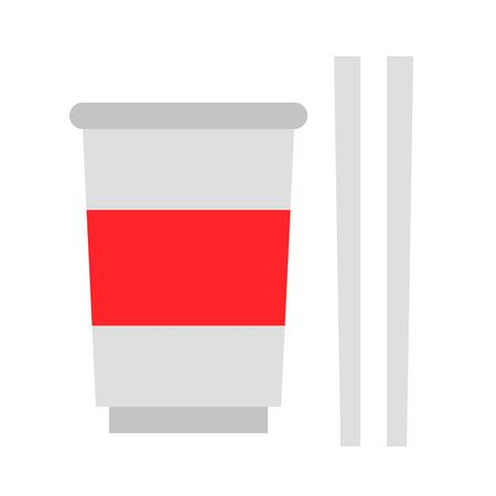 Instant cup noodle with chopsticks vector, grocery store related flat design icon
