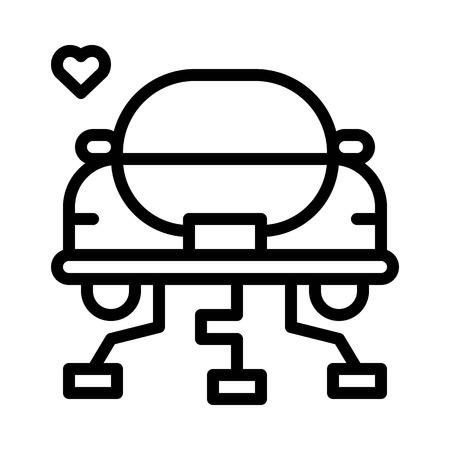 Honeymoon car vector, wedding related line design icon Çizim