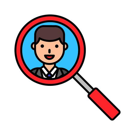 View face with magnifying glass vector, filled design editable outline icon