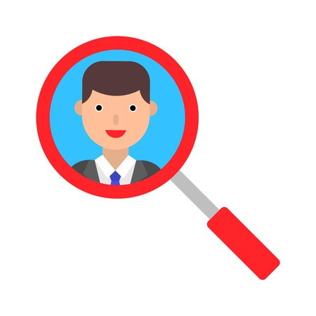 View face with magnifying glass vector illustration, flat design icon