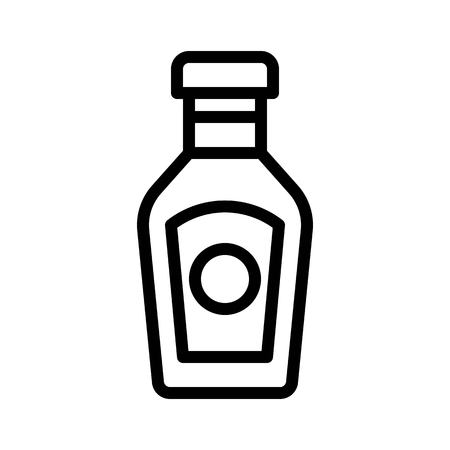 Ketchup vector, grocery store related line design icon Ilustrace