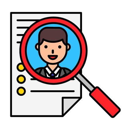 Resume and magnifying glass vector, filled design editable outline icon