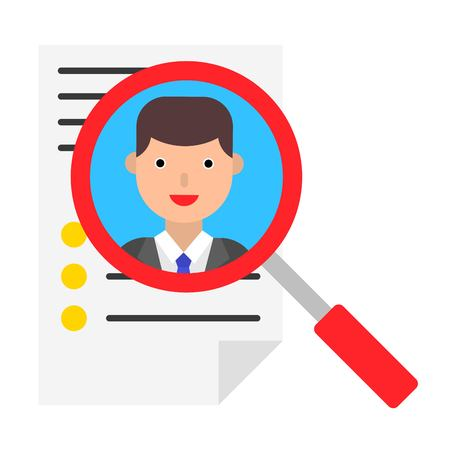 Resume and magnifying glass vector illustration, flat design icon