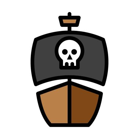 Pirate ship vector, Watercraft filled design icon editable outline