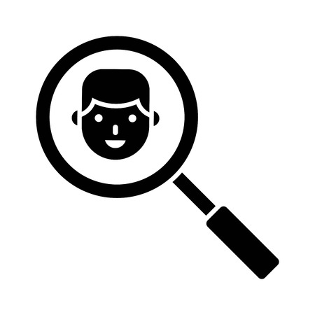 View face with magnifying glass vector illustration, solid design icon