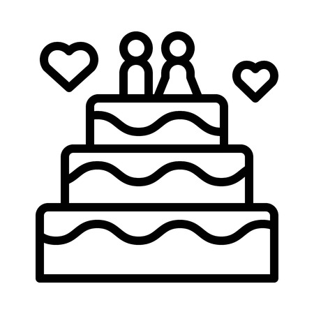 Wedding cake vector, wedding related line design icon