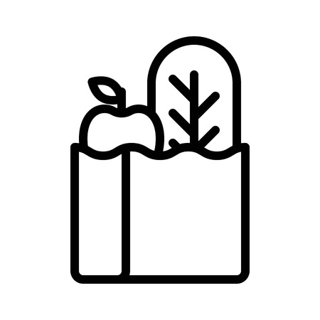 Grocery bag vector, grocery store related line design icon
