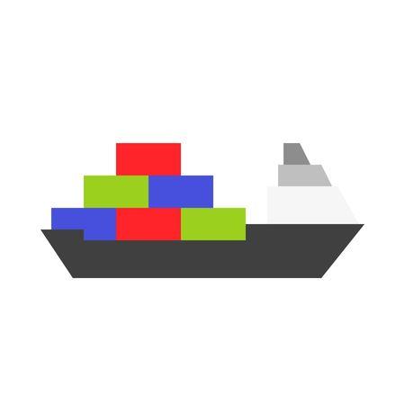 Cargo ship vector illustration, Watercraft flat design icon Archivio Fotografico - 114298398