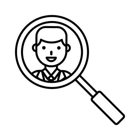 View face with magnifying glass vector illustration, line design icon Ilustração