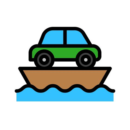 Ferry vector, Watercraft filled design icon editable outline