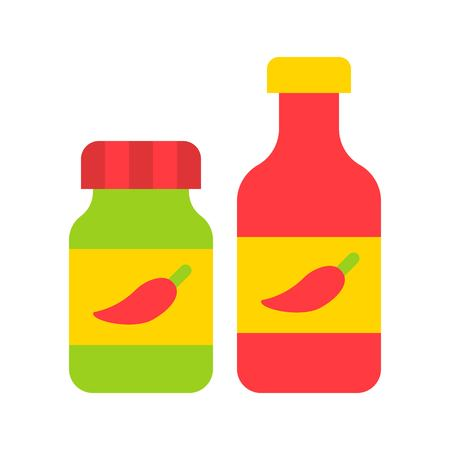 Chili sauce vector, grocery store related flat design icon Çizim