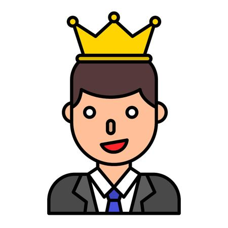 Businessman wearing a crown vector, filled design editable outline icon