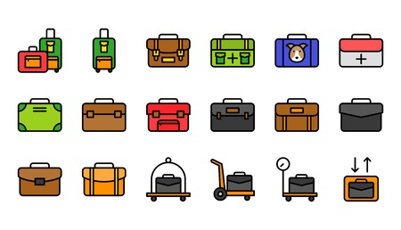 Baggage icon set, filled design editable outline