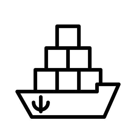 Cargo ship vector, Watercraft line design icon editable outline Standard-Bild - 114298645