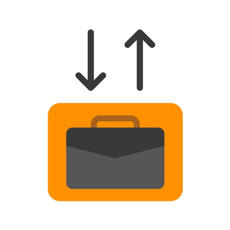 Checkin Checkout vector illustration, Baggage flat design icon Иллюстрация