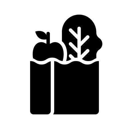 Vector de bolsa de abarrotes, icono de diseño sólido relacionado con tienda de abarrotes Ilustración de vector