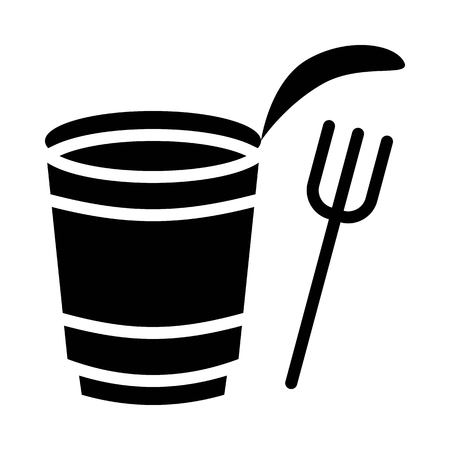 Instant cup noodle with fork vector, grocery store related solid design icon