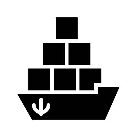 Cargo ship vector illustration, Watercraft solid design icon Archivio Fotografico - 114298929