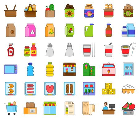 Grocery store related vector icon set, filled design editable outline