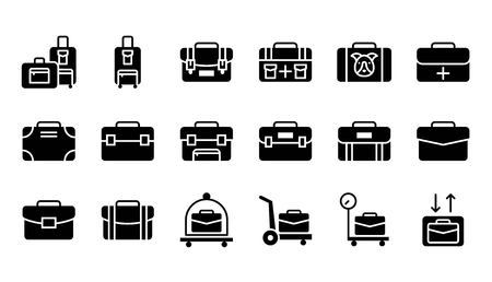 Baggage icon set, solid design vector illustration
