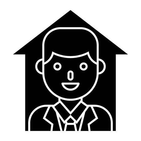 Businessman in up arrow vector, solid design icon Vector Illustratie
