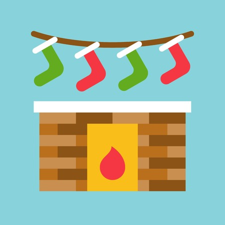 Fireplace vector, Chirstmas related flat design icon