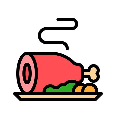 Meat vector, Chirstmas menu filled design editable outline icon