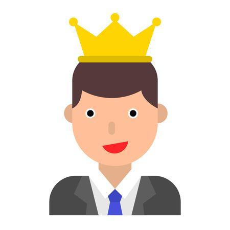 Businessman wearing a crown vector illustration, flat design icon Çizim