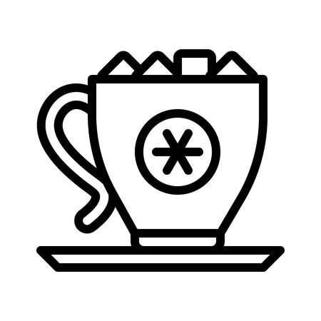 Marshmallow drink vector, Chirstmas menu line design icon, editable outline Иллюстрация