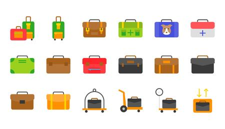 Baggage icon set, flat design vector illustration