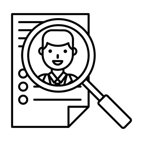 Resume and magnifying glass vector illustration, line design icon