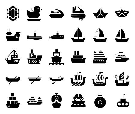 Watercraft icon set, solid style vector illustration