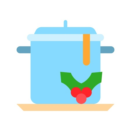 Stew pot vector, Chirstmas menu flat design icon 向量圖像