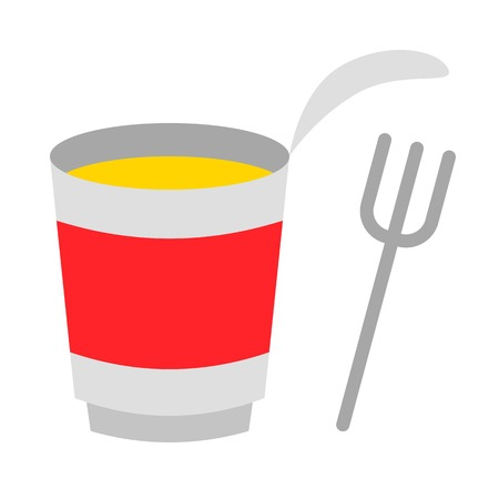 Instant cup noodle with fork vector, grocery store related flat design icon