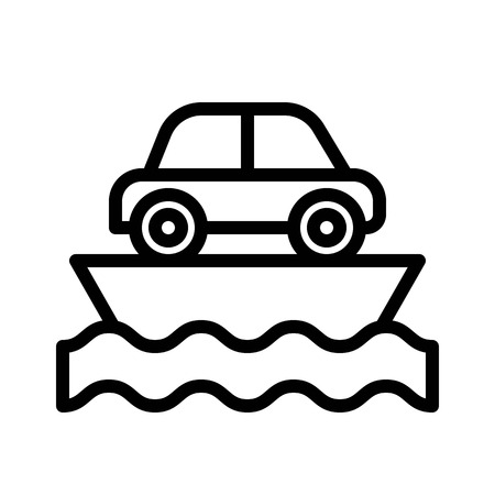 Ferry vector, Watercraft line design icon editable outline