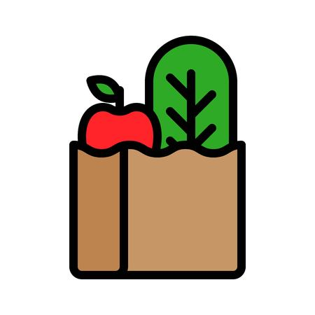 Grocery bag vector, filled design editable outline icon