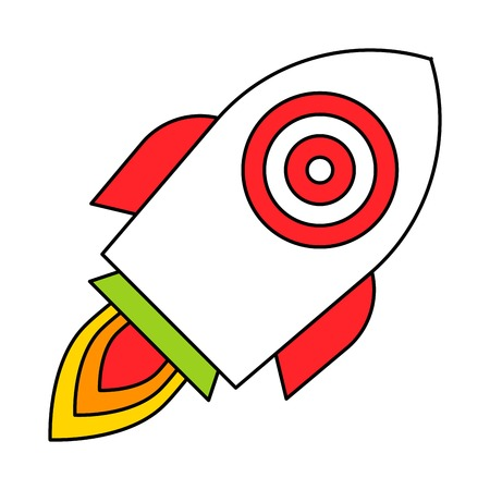 Target on the rocket vector, filled design editable outline icon Illusztráció