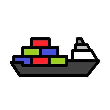 Cargo ship vector, Watercraft filled design icon editable outline Standard-Bild - 114299615