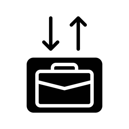 Checkin Checkout vector illustration, Baggage solid design icon