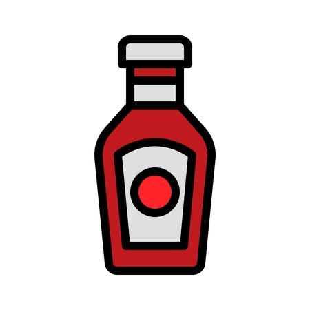 Ketchup vector, filled design editable outline icon