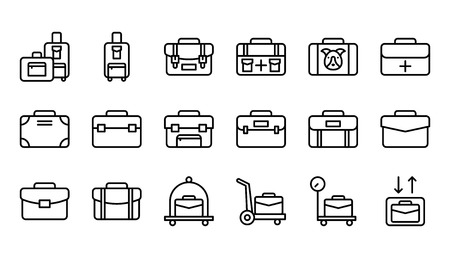 Baggage icon set, line design editable outline Иллюстрация