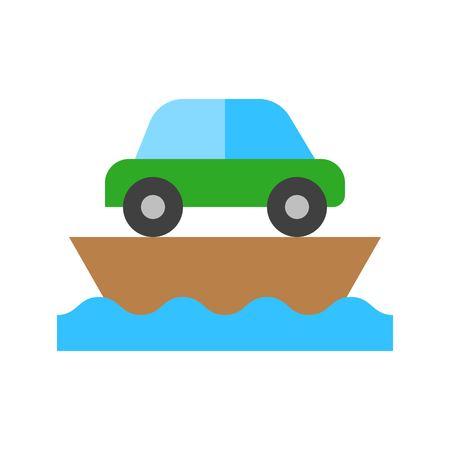 Ferry vector illustration, Watercraft flat design icon Ilustração