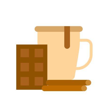 Chocolate drink vector, Chirstmas menu flat design icon